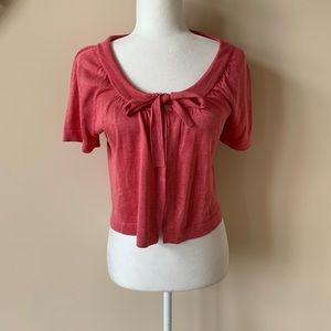 Boden rose pink tie open front sweater #1484
